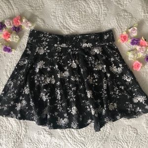 Grey Floral High-Waisted Stretchy Skirt